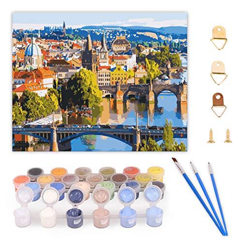 Ulikey Pintura por Números, Kit de Pintura al óleo de Lienzo DIY, Número Kits Decoraciones para Adultos Niños Principiantes--40 x 50 CM (Sin Marco) (City Scenery)