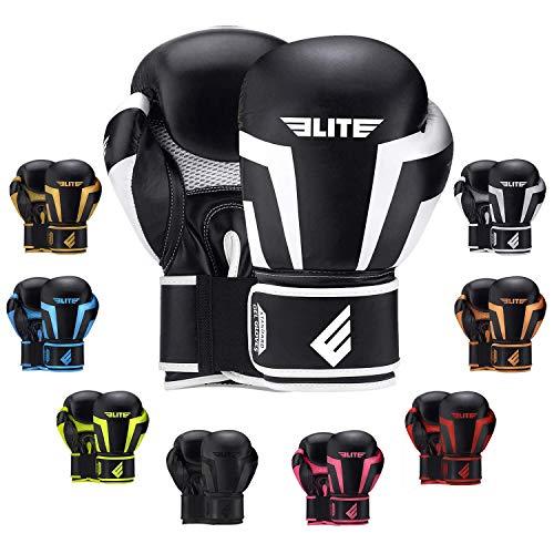 Elite Sports New Item Standard Adult Kickboxing, Muay Thai Sparring Training Boxing Gloves, White, 12 oz.
