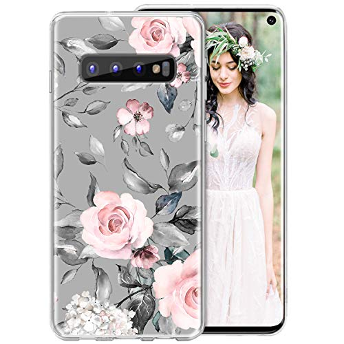 iDLike Galaxy S10 Case for Girls Women, Floral Flower Cute Design Soft Silicone Protective Phone Case Cover with Flowers Roses + Leaves Pattern for Samsung Galaxy S10 6.1 2019, Pink/Gray