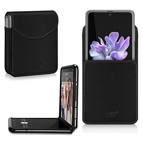 FYY Galaxy Z Flip Hülle, Handyhülle für Samsung Galaxy Z Flip Klapphülle,PU Lederhülle mit Magnetverschluss für Samsung Z Flip Tasche-Schwarz (2020)