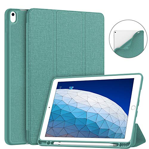 Soke iPad Air 3 Case 2019 with Pencil Holder, Premium Smart Case, Strong Protection, Auto Sleep/Wake, Ultra Slim Soft TPU Back Cover for iPad Air 3rd Generation 2019/iPad Pro 10.5 2017 (Lake Blue)