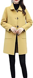 Macondoo Womens Wool-Blend Winter Single Breasted Outwear Thicken Pea Coats