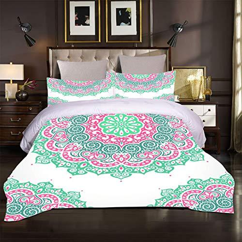 XTiFound Sängkläder Mandala Blommor Påslakanset För Sängar 1X Täcke + 2X Örngott - 100 Polyesterbomull, Blixtlås, Mikrofiber, Sovrumsdekorationer För Pojkar Och Flickor 200X200Cm