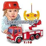 Control remoto de radio de rescate coche camión camión de bomberos RC camión de bomberos el mejor juguete con luces sirena y escalera extensible para regalo de niños (color: CAMIÓN DE ESCALER)