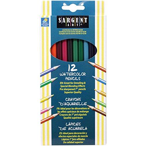 Sargent Art 22-7204 12-Count Assorted Color Watercolor Pencils Set