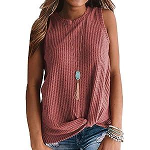 Women's Casual  Sleeveless Cute Waffle Knit Shirts Tank Tops