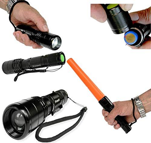 Lampe Torche puissante Q5 CREE LED FA-0515 Rechargeable ULTRA PUISSANTE Portée de plus de 300m - 5 modes dont S.O.S. + bâton de détresse [Classe énergétique A++]