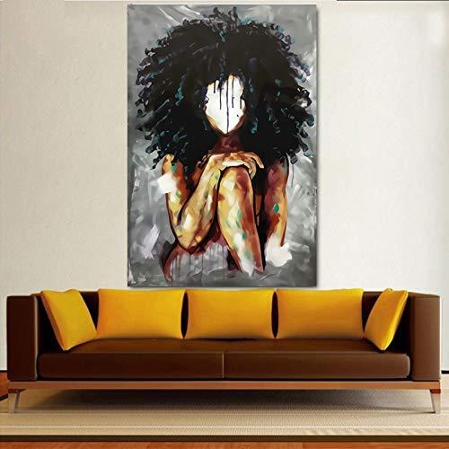 Black Girl Magic Wall Art Lienzo de impresión Arte Abstracto Chica Acuarela sobre Lienzo Cuadro de Pintura en la Pared 60x90 Sin Marco