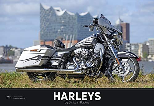 Harleys 2021 - Bild-Kalender 49,5x34 cm - Technik-Kalender - Fahrzeuge - Motorrad-Kalender - Wand-Kalender - Alpha Edition: by Christian Popkes