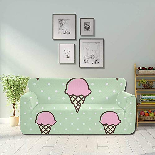AQQA Colorful Cute Sweet Round Ball Ice Cream Cover Couch Sectional Foldable Sofa Cover Fitted Furniture Protector 2&3 Seat Sofas
