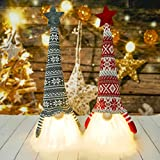 Christmas Gnome Decorations with LED Light - 2 Pack Handmade Swedish Tomte Plush Gnomes - Scandinavian Santa Elf Table Ornaments - Nordic Nisse Gnome Holiday Decor Gift (19-inch)