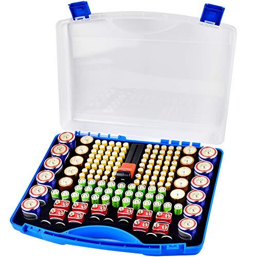 COMECASE Batterie Aufbewahrungsbox Tragetasche Batteriebo, Batterie Garage Container passt für 180 + AA AAA 9V C D Lithium 3V A23 CR 2032, CR 2016, CR 1632, CR 2025 und 1.5V Knopfzelle (Blau)
