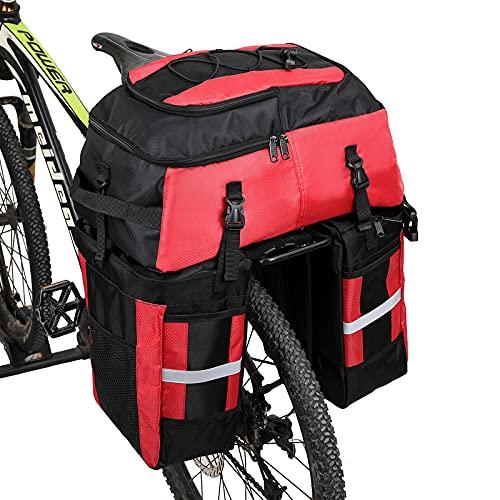 Wildken Bolsa Bicicleta Pannier 3 in 1 Multifuncional Alforja Maletero Impermeable 75L Bolsa para Maletero de Bicicleta Extensible Bolsa de Asiento Trasero (Rojo)