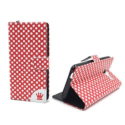 König Design Handyhülle Kompatibel mit ZTE Blade L3 Handytasche Schutzhülle Tasche Flip Hülle mit Kreditkartenfächern - Polka Dot Rot Weiß