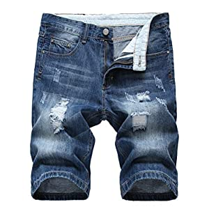 Men's Casual Denim Shorts Classic Fit Distressed Summer Fashion Rippe...