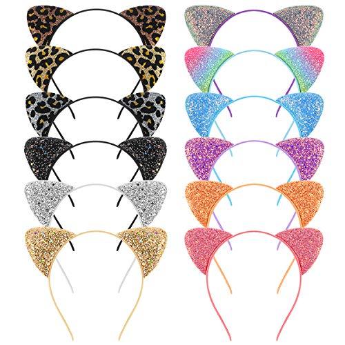 Frcolor Katzenohren Stirnband, Glitter Pailletten Ohr Stirnbänder Metall Haarbänder für die tägliche Party, 12er Pack (One-sided Glitter)