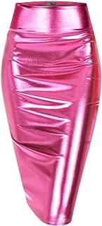 H&C Women's Elastic Waist Stretchy Metallic Pencil Skirt Gold Silver Pink