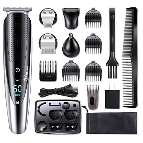 Hatteker Mens Hair Clipper Beard Trimmer Grooming kit Hair trimmer Mustache trimmer Body groomer Trimmer for Nose Ear Facial Hair Cordless Waterproof 5 In 1