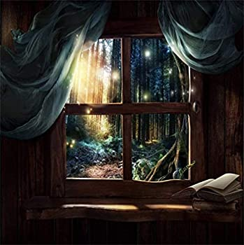 CSFOTO 10x10ft Magic Window Background Fairy Forest Cabin Fantasy Sunny Indoor Interior Books On Windowsill Photography Backdrop Birthday Party Decor Banner Children Kid Photo Wallpaper