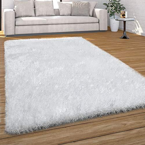 Paco Home Hochflor Teppich Wohnzimmer Shaggy, Pastell Farben, Weicher Soft Garn, Einfarbig, Grösse:120x170 cm, Farbe:Weiß