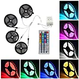 WIILGN 20M 5050 RGB 600-LED Strip Flexible Tape String Lights Not Waterproof Watching TV Bias Light DC 12V with 44 Key IR Remote Controller Kit