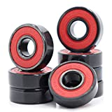 Rodamientos 608RS de 8 x 22 x 7 mm, ABEC-9, color rojo, sellados con rodamientos de bolas de grasa, alta velocidad 608-2RS para monopatín (pick de 8 unidades) (RED)