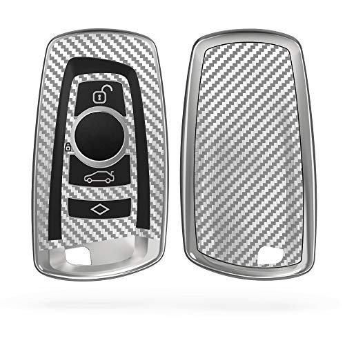 kwmobile Autoschlüssel Hülle kompatibel mit BMW 3-Tasten Funk Autoschlüssel (nur Keyless Go) - TPU Schlüsselhülle Cover Carbon Silber