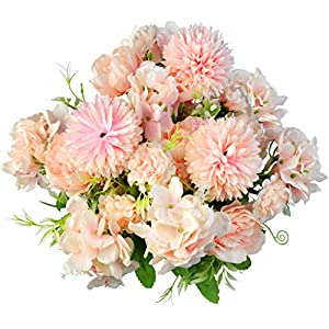 Yookat 3 Pack Fake Peony Hydrangea Silk Flowers Artificial Flowers Carnations Flowers Centerpiece Flowers Table Flower Arrangements Floral Wedding Party Home Decoration
