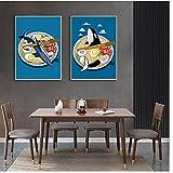 Mmpcpdd Póster japonés Ramen delfín tiburón ballena impresión de dibujos animados lienzo Nostalgia cocina pared arte decoración pintura -40 x 60 cm x 2 sin marco