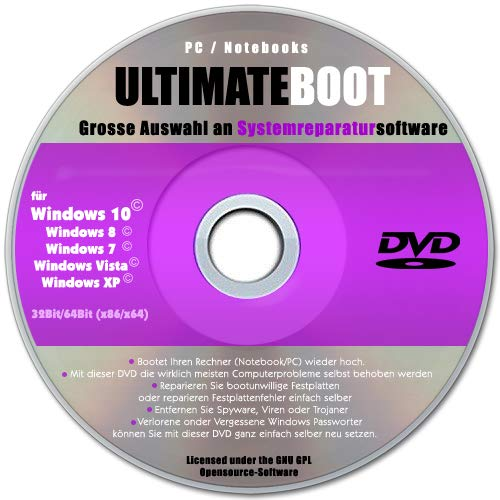 Ultimate Boot CD-DVD (NEU) / Notfall-CD-DVD für Windows 10 Windows 7 , Windows 8, Vista, XP Betriebssysteme System-Diagnose Tools