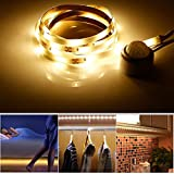 Motion Activated 4.9ft LED Strip Light, Under Bed Cabinet Night lights with Motion Sensor, USB or Battery Powered, LED Rope Lights for Stairs, Cabinets, Closets, Bedroom, Entrance (Warm White)