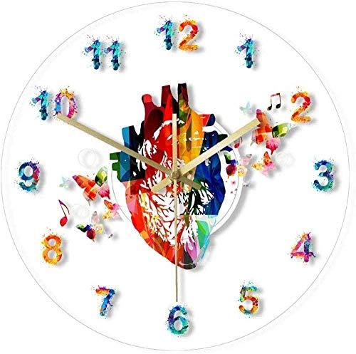 Orologio da parete Cuore Anatomia Pittura ad acquerello Stampa Orologio da parete in acrilico Ufficio medico Decorazioni per l'arte Orologio cardiovascolare Orologio da parete Silenzioso Per soggiorno