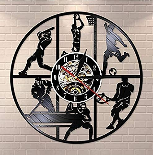 WTTA Reloj de Pared de Vinilo béisbol Baloncesto fútbol Hockey fútbol Tenis Juego Registro Reloj de Pared jardín de Infantes Deportes Pared Arte Reloj de Pared