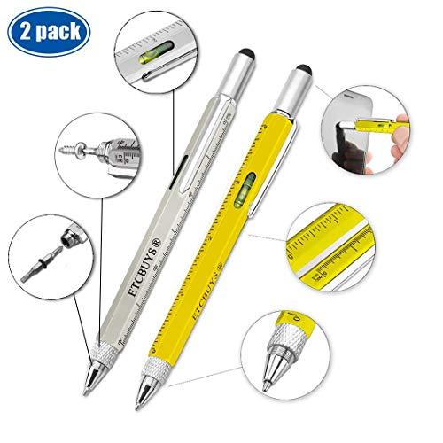 Schroevendraaier pen tas multi-tool 6 in 1 - multifunctionele aluminium waterpas lineair Phillips platte kop bit 2 geel zilver