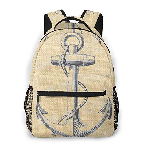 Kinderrucksäcke,Ankerschiff Nautischer Seerucksack, Dekorative Rucksäcke Für Erwachsene Jungen Mädchen,40cm(H) x29cm(W)