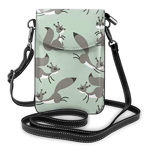 Lawenp Monedero de cuero para teléfono, pequeñas ardillas lindas, pequeño bolso bandolera, mini bolso para teléfono celular, bandolera para mujer