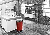 Rotho Paso Mülleimer 40l mit Pedal und Deckel, Kunststoff (PP) BPA-frei, rot metallic, 40l (35,3 x 29,5 x 67,6 cm) - 4