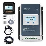 EPEVER 10Aソーラー充電コントローラーMPPT 12V/24V自動最大PV 100V入力MT50リモートメーター温度センサー付きの負の接地ソーラーパネル充電レギュレーターRTS&PC通信ケーブルRS485