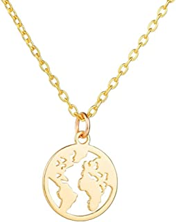 World Map Necklace for Women Mother Earth Necklace Gold Silver World Continents Travel Jewelry Gift