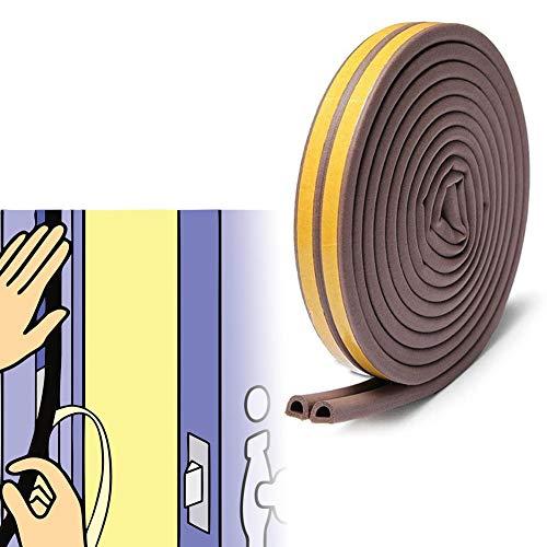 隙間テープ 窓 ドア すきま風防止 防音パッキン 引き戸 窓 扉 玄関用すきまテープ 虫塵すき間侵入防止シールテープ エアコン効率アップ D型 茶色(5m x 2本)