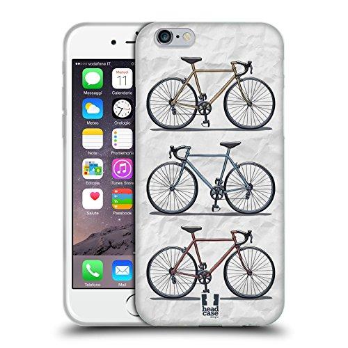 Head Case Designs Stmpato Veloce Biciclette Retro Cover in Morbido Gel Compatibile con Apple iPhone 6 / iPhone 6s