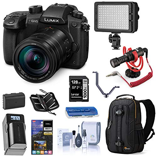 Panasonic LUMIX GH5 4K Mirrorless Digital Camera with Leica 12-60mm Lens, (DC-GH5LK), Bundle with LED Light, RODE VideoMicro Mic, Backpack, Battery, Charger, 128GB SD Card + Accessories