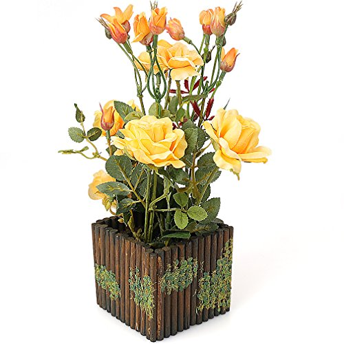 RERXN Artificial Flower with Wooden Fence Pot Silk Potted Rose Arrangement for Home and Wedding Decor (Yellow)