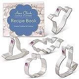 Ann Clark Cookie Cutters 5-Piece Halloween Cookie Cutter Set with Recipe Booklet, Pumpkin, Bat,...