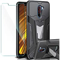 AROYI Xiaomi Pocophone F1 Funda + Protectores de Pantalla,2in1 Dura PC + Suave TPU Silicona Carcasa Híbrido Armadura Heavy Duty Bumper Case Completa Hard Cover para Xiaomi Pocophone F1 - Negro