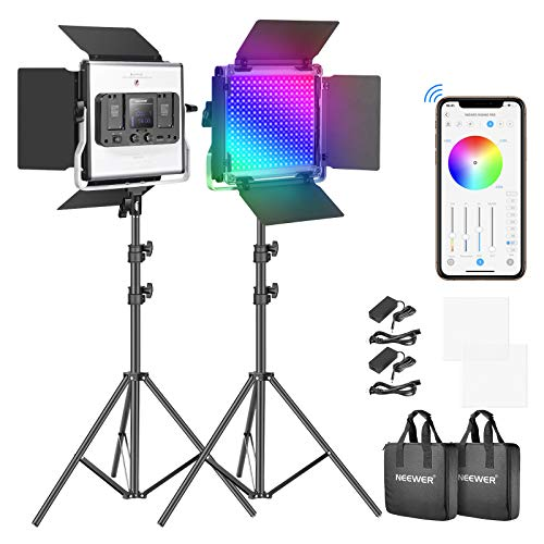 Neewer RGB Led Video Light with APP Control, 360°Full Color, 50W 660 PRO Video Lighting Kit CRI 97+ for Gaming, Streaming, Zoom,Youtube, Webex, Broadcasting, Web Conference, Photography