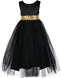 Girls Princess Dress with Sequin Waist Tie for Gown Ball Prom Party 7 Colors