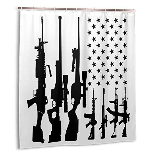 milkcolor Pistole Amerikanische Flagge - 2. Änderung Rechte USA Duschvorhang Set mit 12 Haken Polyester Bad Gardinen Wasserdicht Dekorative Dicke Bad Vorhang 66 'X 72'