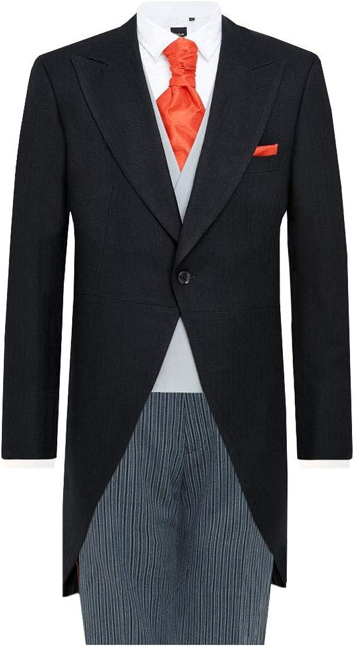Dobell Mens Black Herringbone 2 Piece Morning Suit Regular Fit Striped Pants