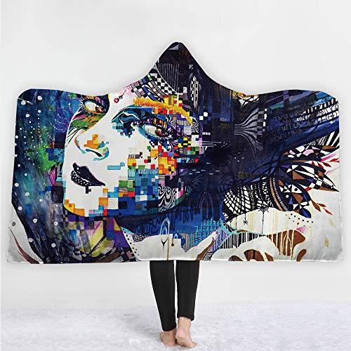 Kapuzendecke Schädel Erwachsene Kinder farbige Plüsch mit Kapuze Decke Schlafsofa Doppelschicht-Decke Warme Bequeme tragbare Wurfs-Plüsch-Decke Cape (Schädel 07, 150X200 cm)